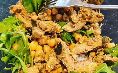Repas rapide et sain, Roquette-Maquereau-Pois chiches